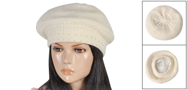 Ladies Woman Polyester Lining Beige Glitter Rhinestone Decor Knitting Beanie Hat