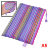 Zipper Closure Nylon Mesh Multicolor Stripes A5 Paper Documents File Bag Folder