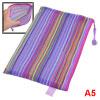 Zipper Closure Nylon Mesh Multicolor Stripes A5 Paper Documents File Bag Folder