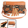Lady Snake Print Tassels Decor Orange Red 2 Pockets Zipper Wallet...
