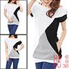 Allegra K Ladies Black White Gray Color Block Stretch Summer Tunic Shirt S