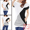 Allegra K Lady Black White Gray Color Block Boat Neck Slim Tunic Shirt M