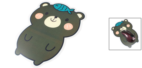 Home Office Plastic Foam Dark Green Cartoon Bear Pattern Mouse Pad