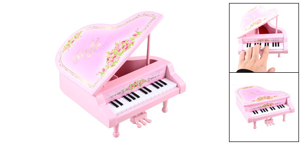 Plastic Floral Print Piano Music Box Miniature Model Gift Pink