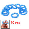Woman Clear Light Blue Coiled Telephone Wire Plastic Ponytail Hol...