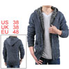 Long Sleeve Zip Up Inner Fleece Dark Blue Sweater Hoody For Men M