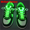 Pair Motion Sensor Green LED Light-up Shoelaces Shoestring Flashi...