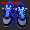 2 x Disco Motion Sensor Blue LED Light up Sneaker Flash Shoelaces...