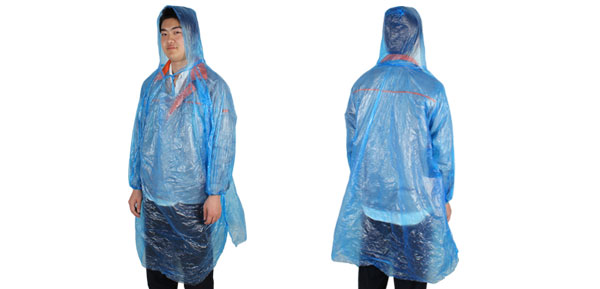 Lady Man Blue Long Sleeve Disposable Camping Travel Pullover Raincoat