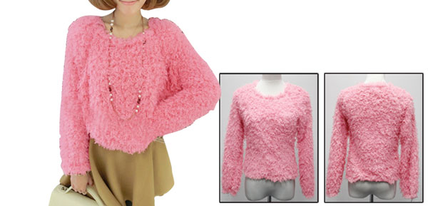Womens Pullover Long Sleeves Loose Pure Pink Plush Casual Top XS