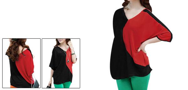 Ladies Red Black Batwing Sleeves Casual Tee Shirt S