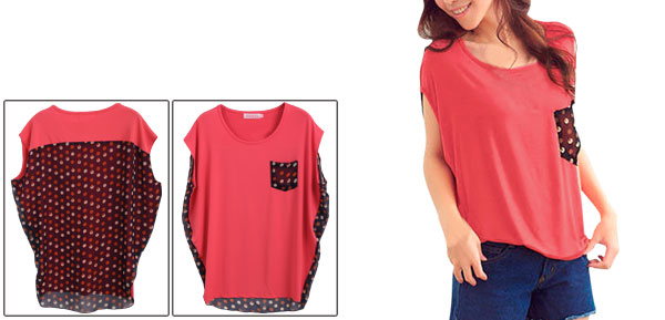 Ladies Watermelon Red Scoop Neck Stretchy Tee Shirt S