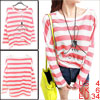 Pink White Autumn Pullover Stripes Long Sleeves Loose Tunic Shirt...