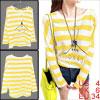 Ladies Yellow White Stripes Letter Autumn Casual Long Sleeves Tun...