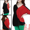 Ladies Red Black Batwing Sleeves Casual Tee Shirt S