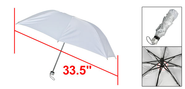 Silver Gray Polyester Fabric Cover Metal Frame Foldable Rain Sun Umbrella