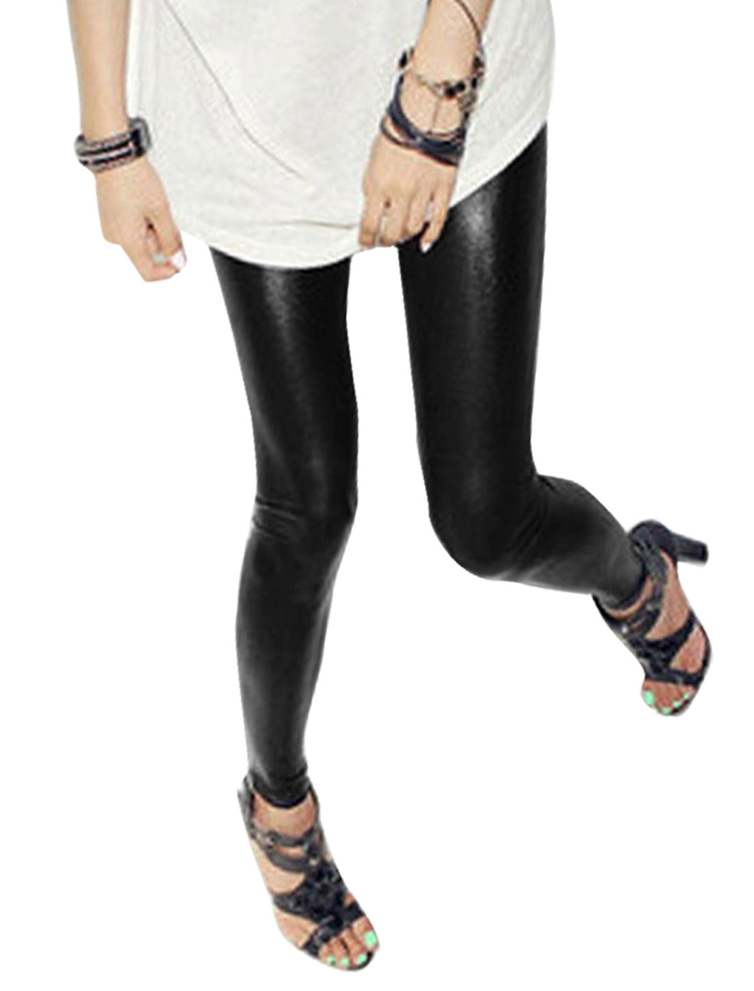 9-16 Lady Elastic Waist Black PVC Skinny Legging Tights