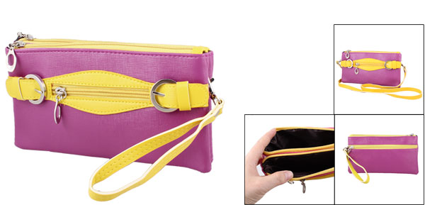 Nylon Lined 4 Conpartments Faux Leather Shoulder Bag Yellow Fuchsia for Ladies