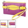 Nylon Lined 4 Conpartments Faux Leather Shoulder Bag Yellow Fuchs...
