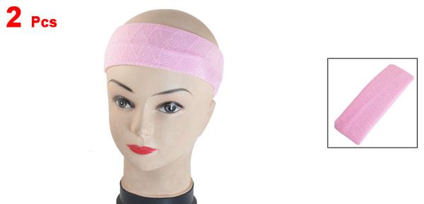DIY Hairstyle Stretchy Head Band Elastic Headband Hair Holder Pink 2 Pcs