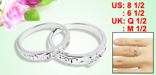 Rhinestone Decor Silver Tone Metal Finger Rings for Couple Lovers