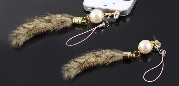 Beige Faux Fur Tail Decor 3.5mm Ear Cap Dust Plug Phone Strap for Cell Phone