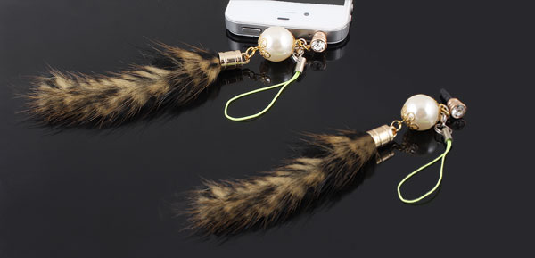 Faux Pearl Detail Brown Faux Fur Tail Pendant Phone Strap for iPhone HTC