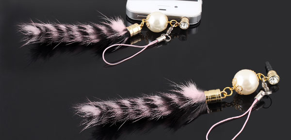 Pink Faux Tail Accent 3.5mm Ear Cap Dust Plug Phone Strap for iPhone HTC