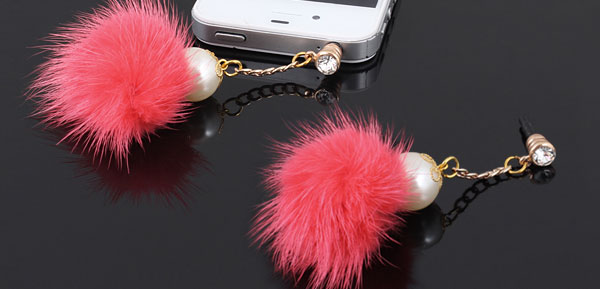 Bling Crystal Hot Pink 3.5mm Dust-proof Ear Cap Plug for MP3 MP4 Cellphone