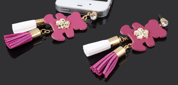 Bear Detail Fuchsia 3.5mm Anti Dust Ear Cap Plug Phone Strap