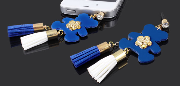 Tassel Bear Crystal Decor Blue 3.5mm Ear Dust Cap Phone Strap