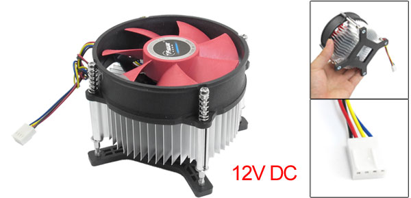 12V DC Black Silver Tone Round Shape Computer CPU Cooler Fan w Base