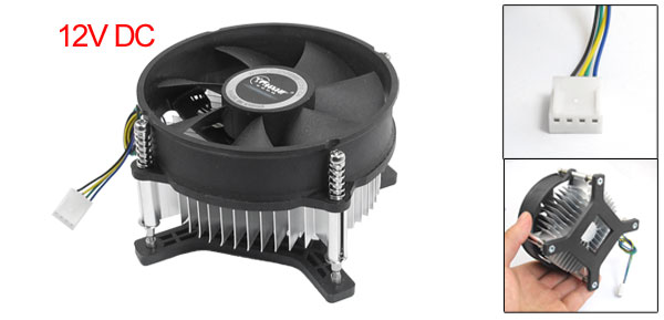 12V DC Silver Tone Black Round Shape Computer CPU Heatsink Cooler Fan w Base