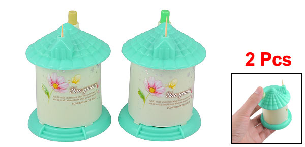 Turquoise House Shape Floral Print Automatic Plastic Toothpick Holder 2 Pcs