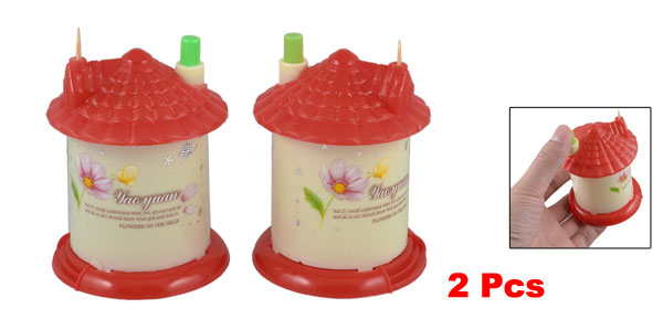Red House Shape Floral Print Automatic Plastic Toothpick Holder Container 2 Pcs