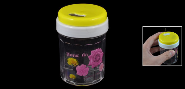 Yellow Clear Cylinder Shape Flower Pattern Plastic Toothpick Holder Container
