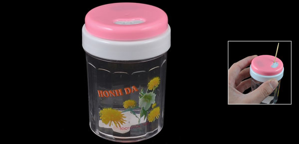 Restaurant Kitchen Floral Print Plastic Cylinder Toothpick Holder Pink Clear