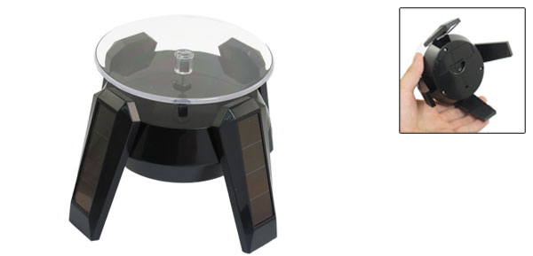 Black Turntable Revolving Solar Display Stand Holder for Watches Jewelries