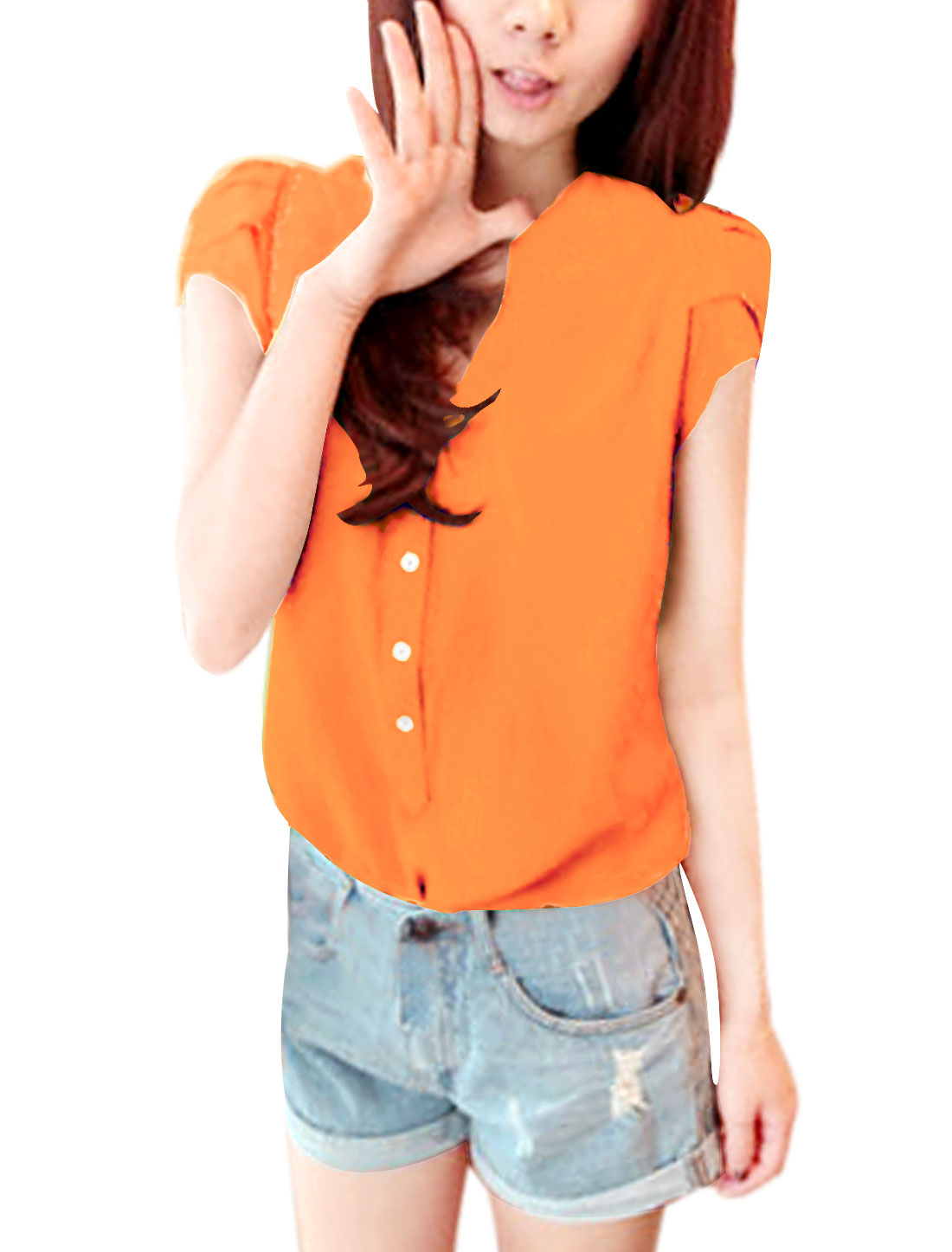 Lady Orange Stand Collar Short Sleeve Button Closure Casual...