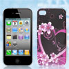 Black Flower Heart Design Hard Back Case Cover for Apple iPhone 4...