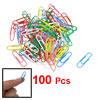 100 Pcs Colorful Metal Office Paper Clip Stationery w Case