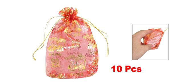 10 Pcs Chinese Bridegroom Bride Pattern Red Organza Wedding Candy Bag