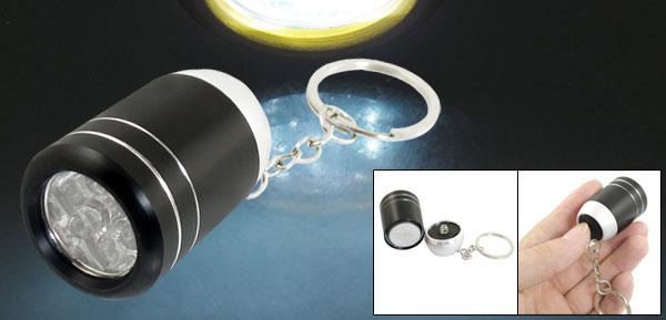 Black Alloy Shell Wine Bucket Shaped White 6 LEDs Flashlight Keyring