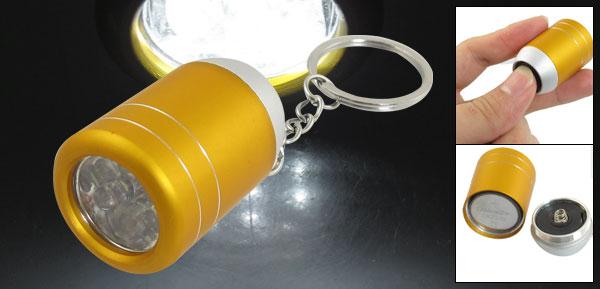 Gold Tone Alloy Shell Wine Bucket Shaped White 6 LEDs Flashlight Keyring