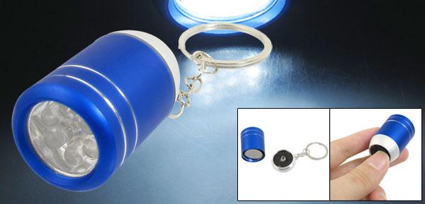 Blue Alloy Shell Wine Bucket Shaped White 6 LEDs Flashlight Keyring