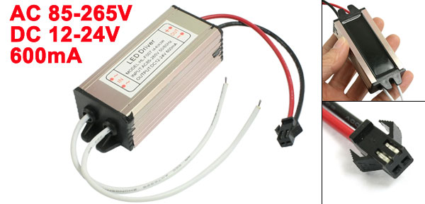 Water Resistant (4-6)x3W LED Strip Power Supply Driver AC 85-265V DC 12-24V 600mA