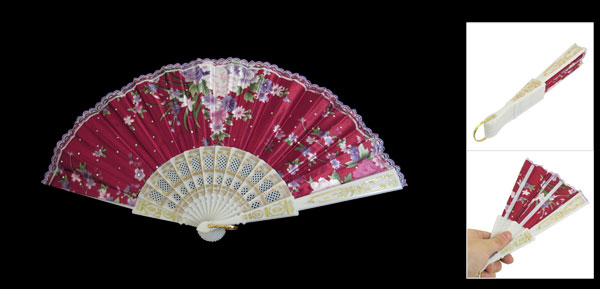 Lady White Plastic Ribs Scalloped Rim Red Cloth Foldable Fan