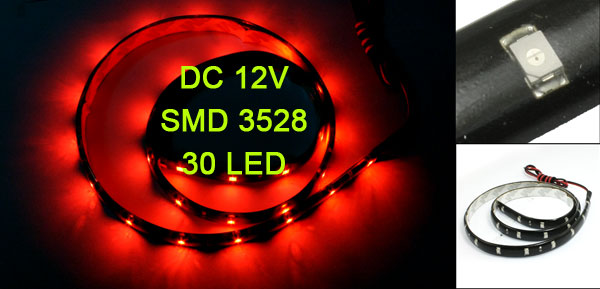 Car Auto DC 12V Red 1210 3528 SMD 30 LEDs Light Lamp 60cm internal