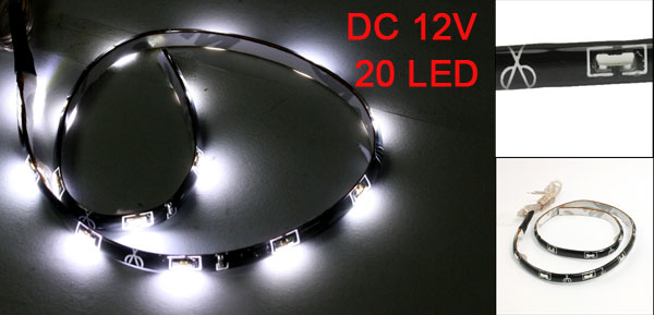 Car White SMD 20 LED Flexible Strip Bar Light Lamp DC 12V 30cm