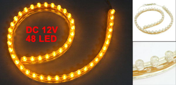 Car Auto Flexible PVC Yellow 48-LED Strip Light Lamp 48cm